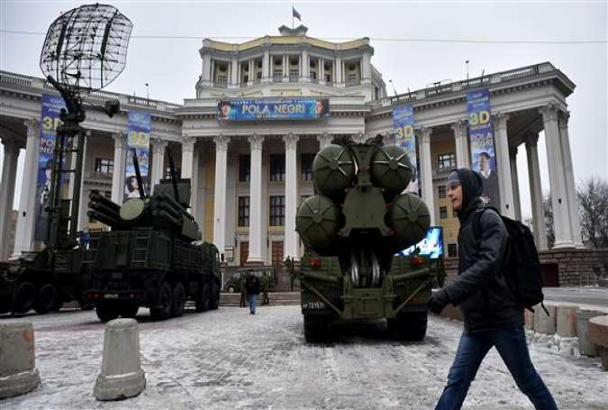A Russian surface-to-air missile defense system S-300 is displayed on Suvorovskaya square in the capital city of Moscow on December 8, 2014.