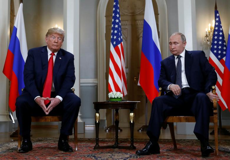 President Donald Trump meets with Russian President Vladimir Putin.