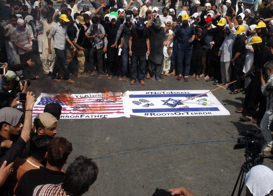کراچی، نماز ظہرین کے بعد عزادارانِ امیر المومنینؑ کا امریکا، اسرائیل اور انکے حواریوں کیخلاف احتجاجی مظاہرہ