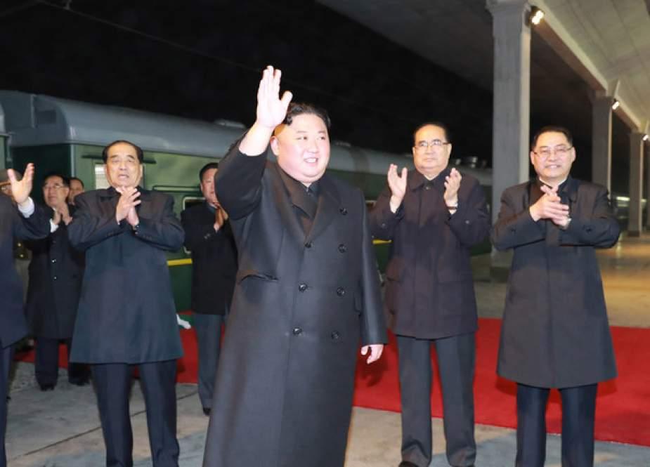Kim Jong-un, praising workers of the major construction project.jpg