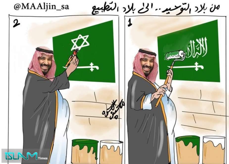 كاركاتير.. ابن سلمان يحول السعودية من بلاد التوحيد لبلاد التطبيع!