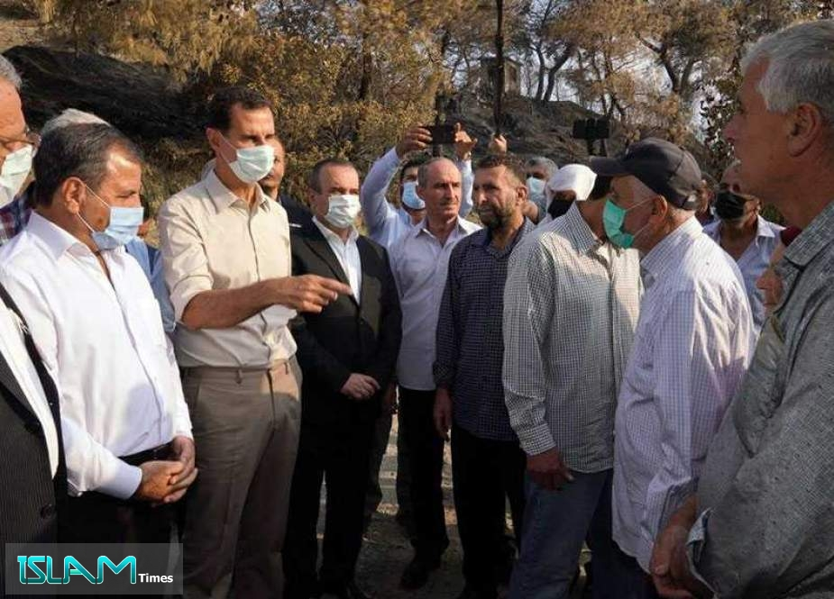 Assad Inspects Areas Damaged by Wildfire in Lattakia
