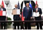 Benjamin Netanyahu Israel, Donald Trump AS, Abdullatif Al Zayani Bahrain dan Abdullan bin Zayed Uni Emirat Arab.jpg