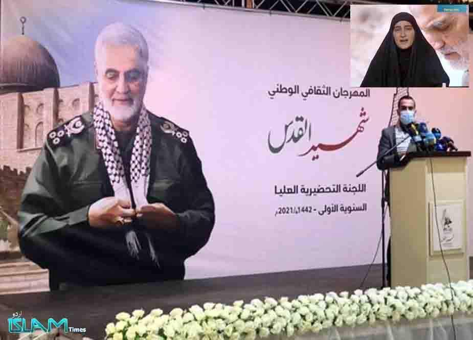 """غزہ، شہید کمانڈرز کی پہلی برسی پر """"زینب سلیمانی"""" کا فلسطینی قوم کے نام خصوصی پیغام"""