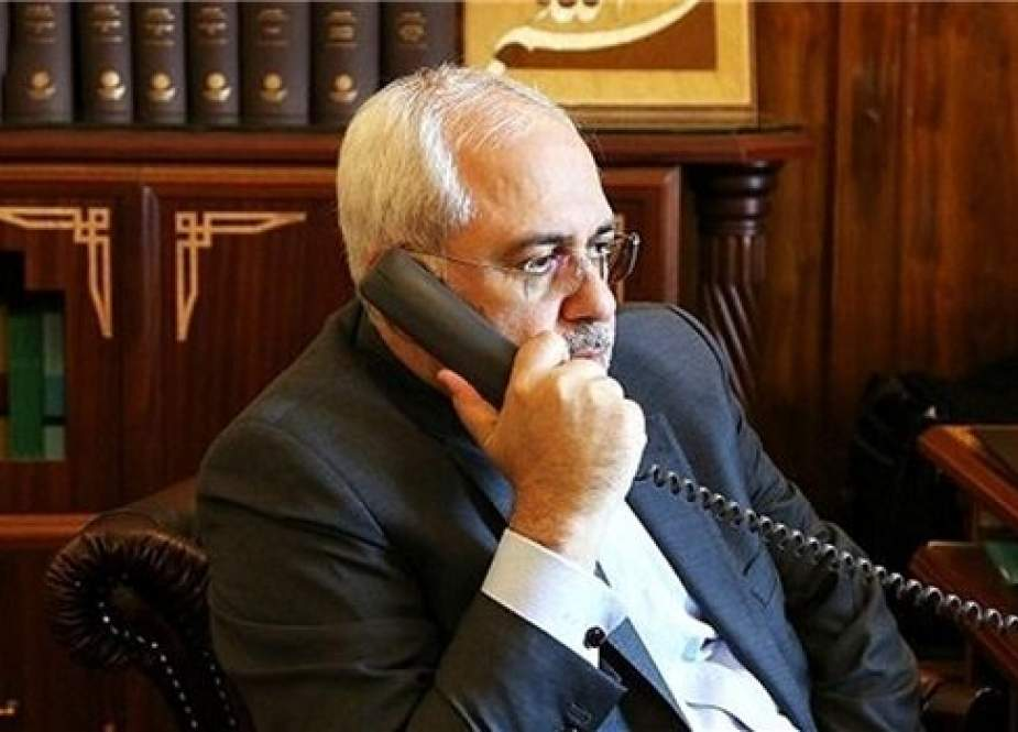 Iranian FM Mohammad Javad Zarif speaking during a phone cal