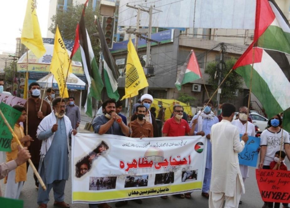 ملتان، غزہ میں جاری اسرائیلی جارحیت کیخلاف اور فلسطینی مسلمانوں کی حمایت میں احتجاجی ریلی، امریکی و اسرائیلی پرچم نذرآتش