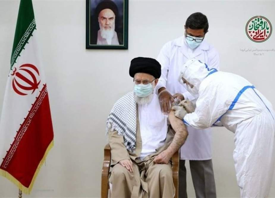 Imam Khamenei receives second dose of home-made Coronavirus vaccine.jpeg