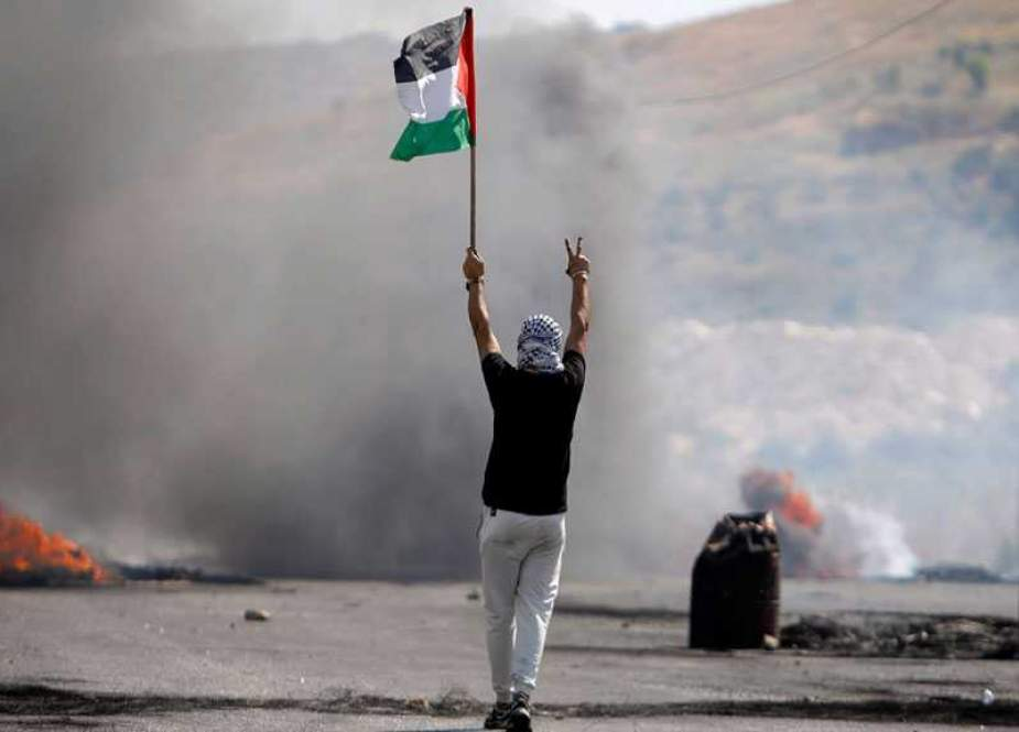 Palestinian protesters in occupied West Bank