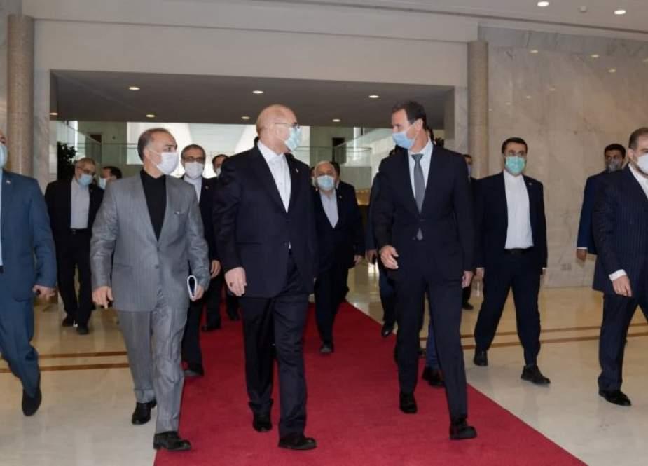 الاسد وقاليباف يؤكدان على فتح افاق جديدة للتعاون بین سوریا وایران