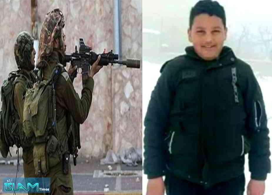غاصب صیہونیوں کی سیدھی فائرنگ سے 12 سالہ فلسطینی بچہ شہید