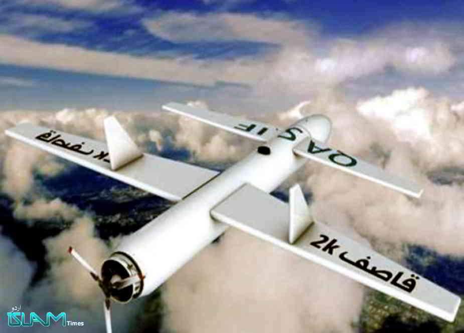 یمنی فورسز کیجانب سے جارح سعودی فوجی اہداف پر جوابی ڈرون حملہ