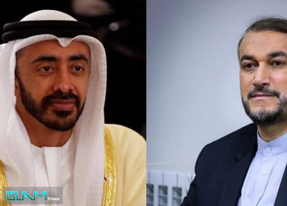 Iran's FM, UAE Counterpart Discuss Bilateral Ties, Regional Developments