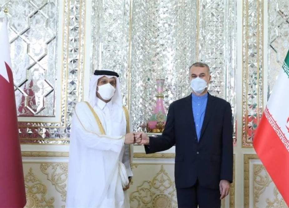Hossein Amir-Abdollahian and Mohammed bin Abdulrahman bin Jassim Al Thani in Tehran.jpg