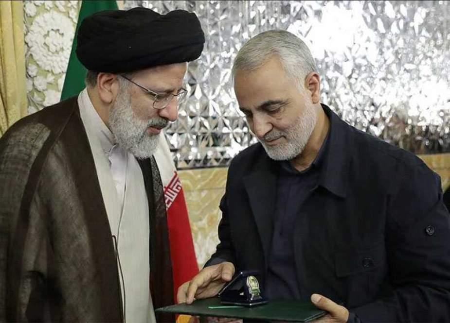 Sayyed Ebrahim Raisi, Iranian President and Lieutenant General Qassem Soleimani.jpg