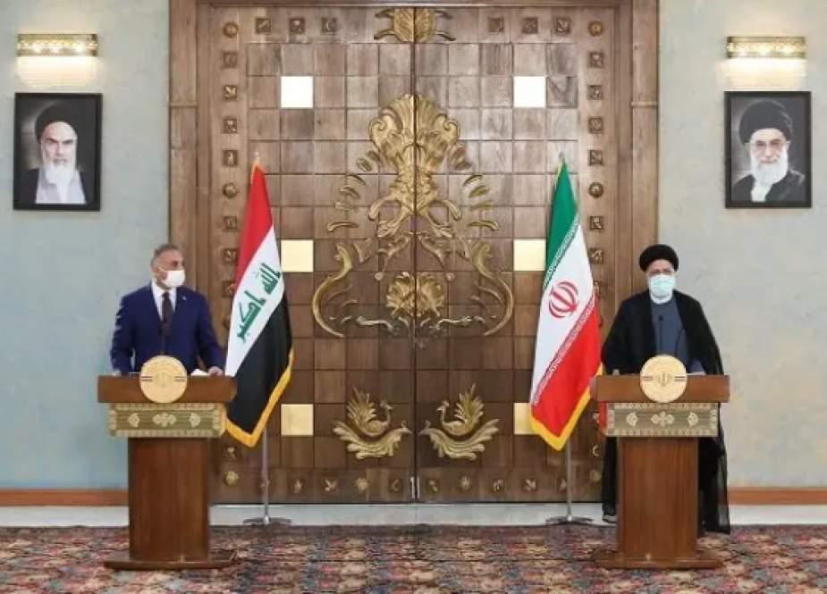 Iranian President Ebrahim Raisi with Iraqi Prime Minister Mustafa al-Kadhimi, in Tehran.png