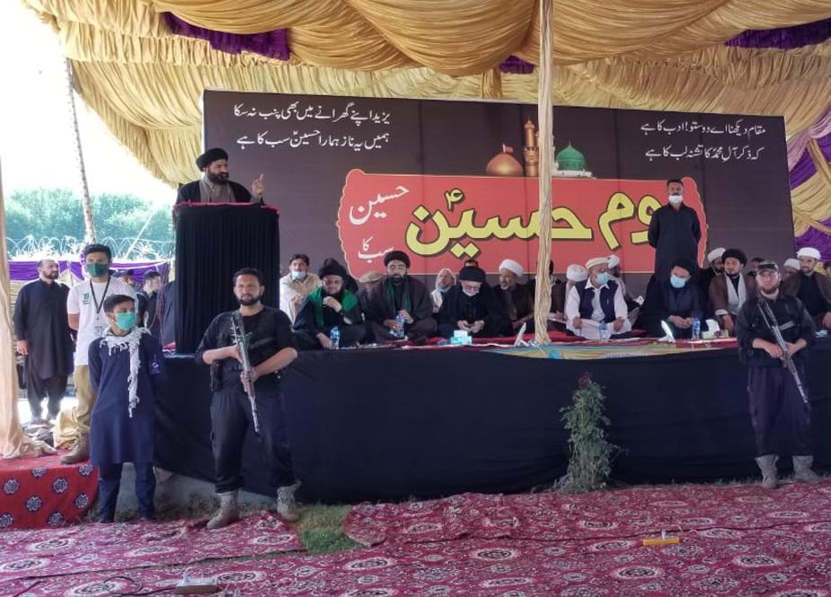 معروف عالم دین سید ذیشان حسین خطاب کرتے ہوئے