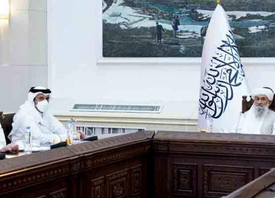 Qatari FM Sheikh Mohammad bin Abdulrahman Al-Thani meets new Afghan PM Mullah Mohammad Hassan Akhund.jpg