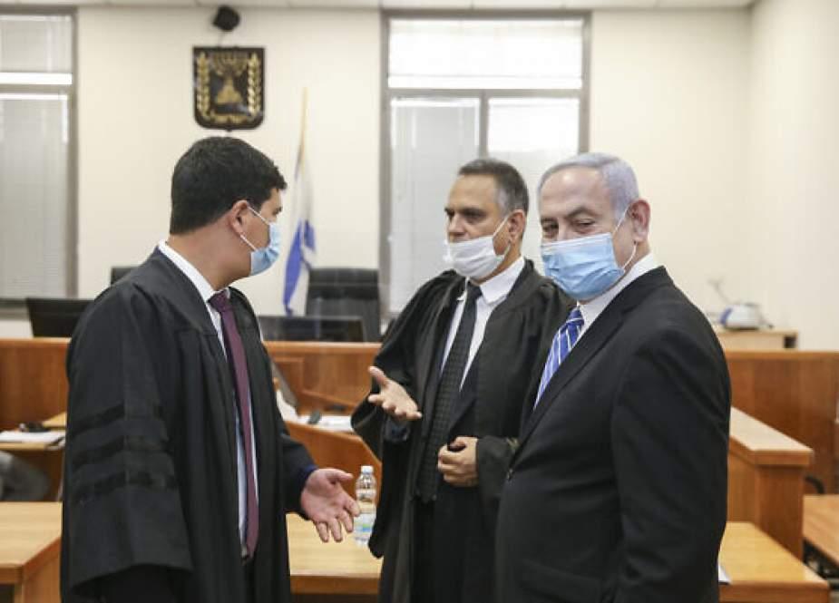 Benjamin Netanyahu during a trial in an Israeli court in occupied Al-Quds.jpg