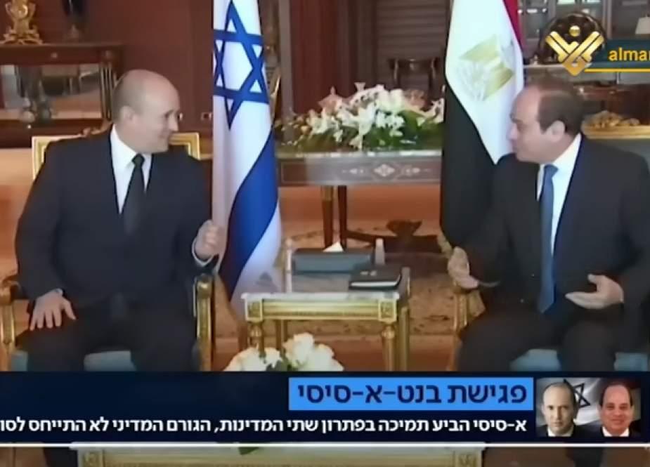Zionist PM Naftali Bennett meeting with the Egyptian President Abdul Fattah Al-Sisi in Sharm Al-Sheikh.png