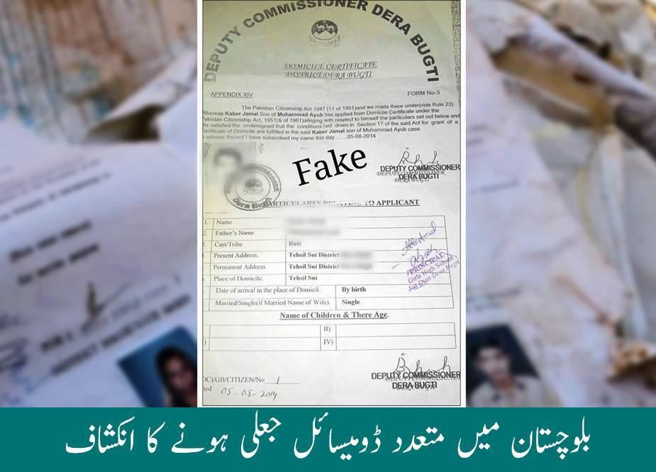 بلوچستان میں متعدد ڈومیسائل جعلی ہونے کا انکشاف