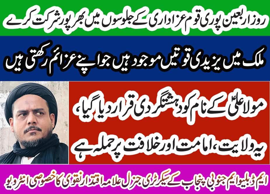 ایم ڈبلیو ایم جنوبی پنجاب کے صوبائی سیکرٹری جنرل علامہ اقتدار حسین نقوی کا خصوصی انٹرویو