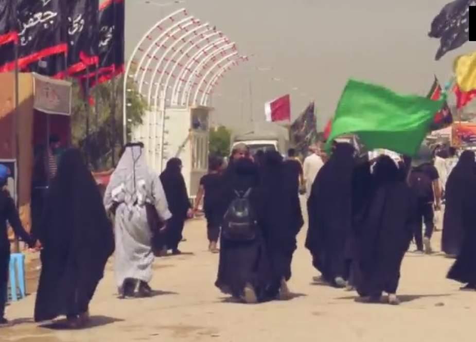 زوار الامام الحسين(ع) يستمرون في مشاركتهم في مسيرة الاربعين