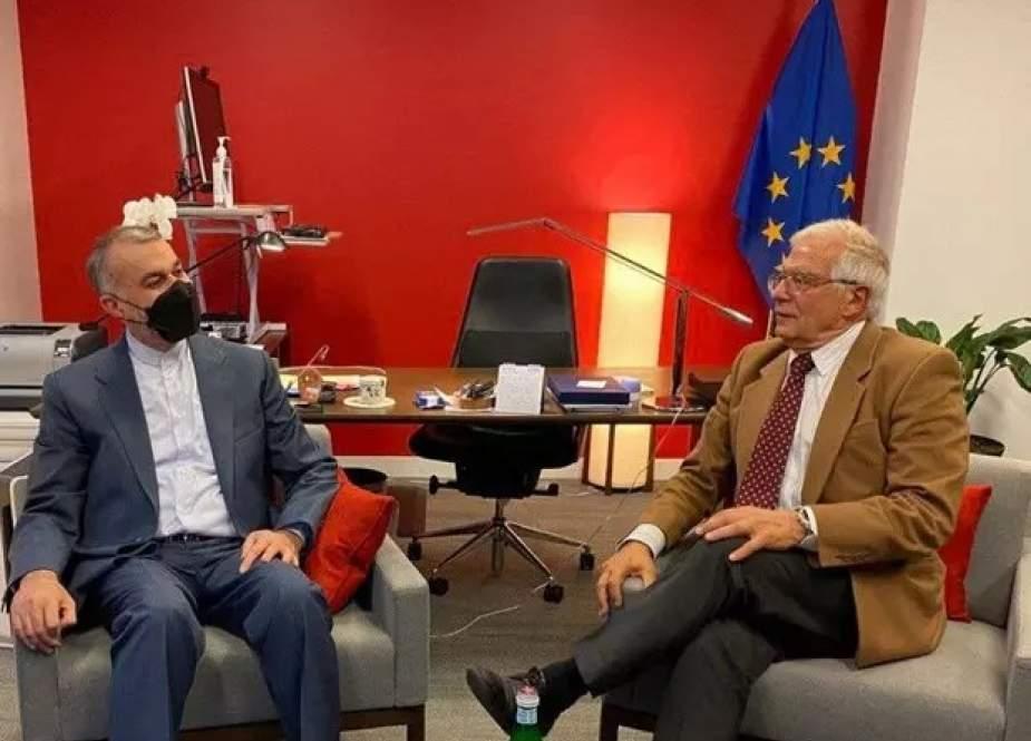 Hossein Amir Abdollahian, Iranian FM and EU Foreign Policy Chief Josep Borrell in a meeting in New York.jpg