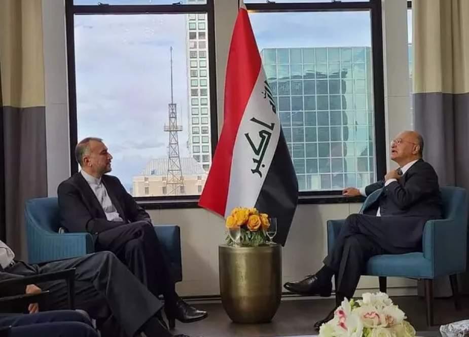 Hussein Amir-Abdollahian, Iranian Foreign Minister with Iraqi President Barham Saleh.png
