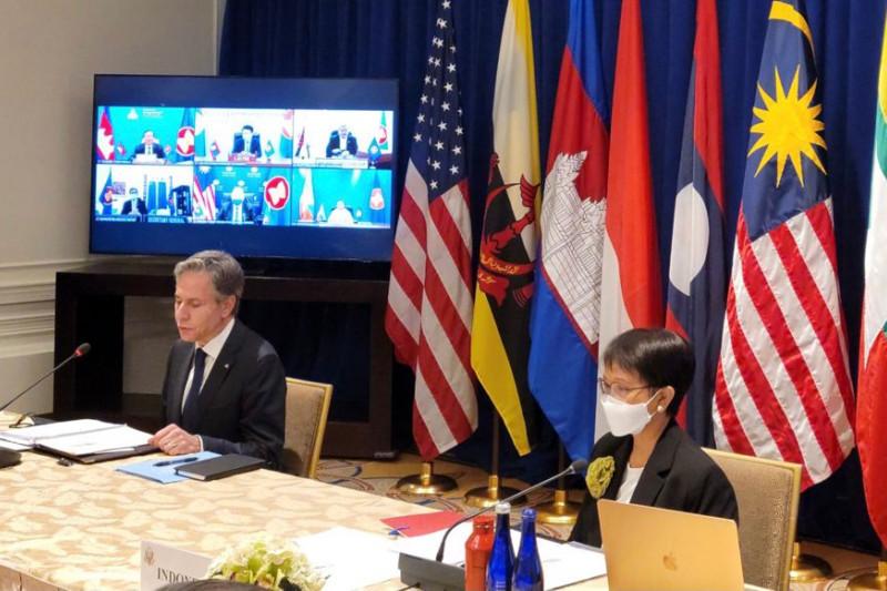Menteri Luar Negeri RI Retno Marsudi bersama Menlu AS Antony Blinken memimpin Pertemuan Tingkat Menteri ASEAN-AS di New York, Amerika Serikat