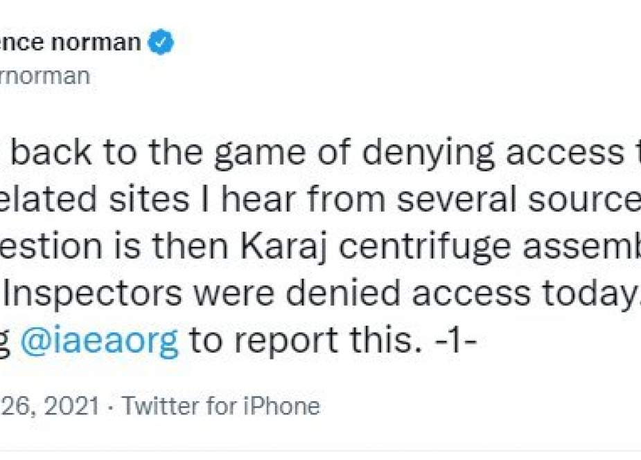 Wartawan AS Mengklaim Iran Tidak Membiarkan IAEA Ke Situs Nuklir Karaj