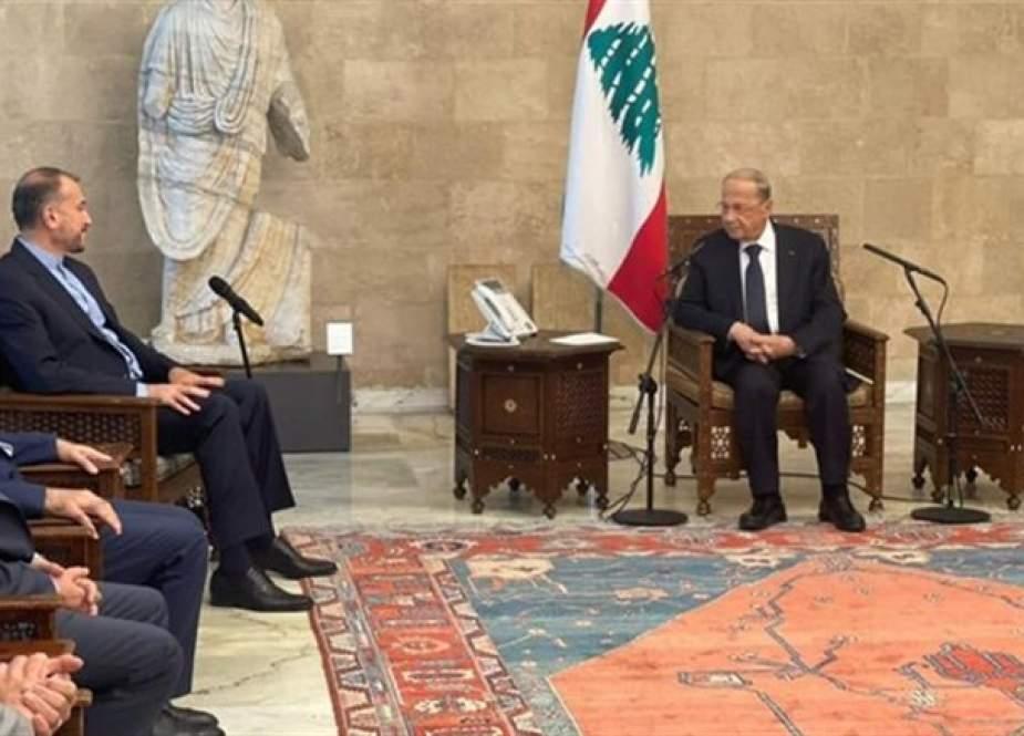 عون لوزير إيراني: الحوار مع السعودية مهم لتحقيق الأمن