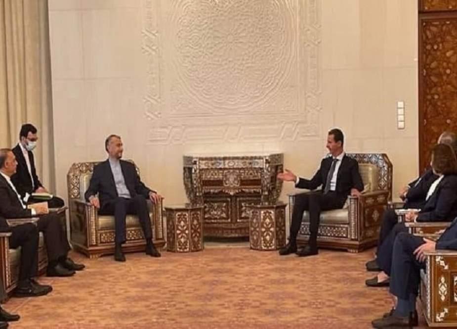 الرئيس السوري يستقبل وزير الخارجية الايراني